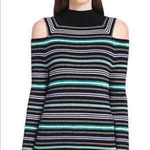 Calvin Klein open shoulder stripped🐢neck sweater